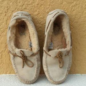UGG Tan Wool Lined Mocossins Size 7
